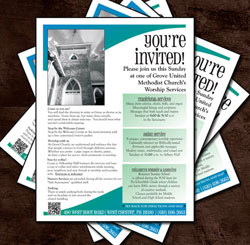 Flyer for new visitors also distributed at various public events for Grove UMC