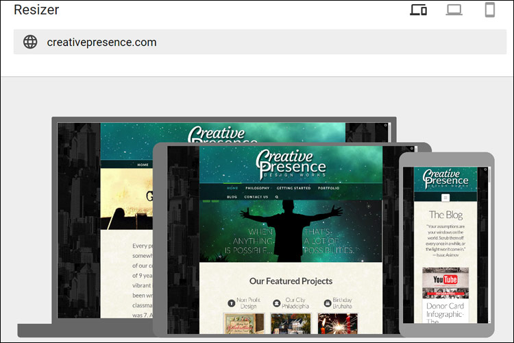 Google Resizer Capture of the Creative Presence website